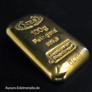 Goldbarren-100g-Feingold-9999-NES
